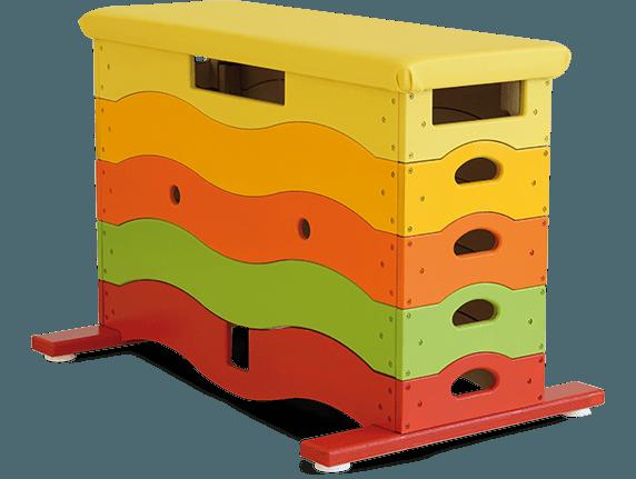 Sprungkasten im Regenbogendesign